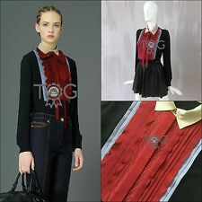 £1385 2015 Valentino Black Red Tricolor SILK Lace Bow Blouse Size S IT40 US2 4