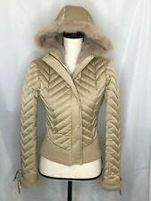 BEBE TAN LACE UP HOODED DOWN PUFFER JACKET FUR LINED FULL ZIP SIZE SMALL