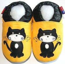 Minishoezoo cat yellow  6-12 m soft sole baby leather crib shoes  free shipping