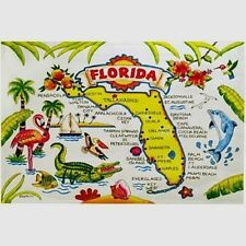 FLORIDA MAP COTTON TEA KITCHEN TOWEL 20″ x 32″