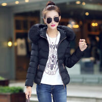 Women's Fur Winter Cotton Hooded Short New Quilted Collar Down Jacket Coat Parka