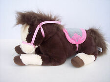 "Stuffed Animal Horse Plush Pony Brown Tan Pink Saddle Bridle Soft Toy 16"" Long"