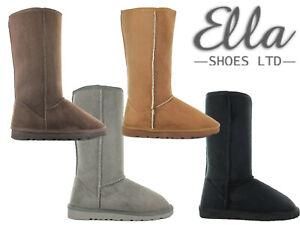 Ladies Ella Winter Boots Womens 'Hug' Faux Fur Sheepskin Tall Warm Cosy Booties