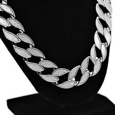 "Sand Blast Cuban Chain Silver Tone 18MM Sandblast Bling 30"" In Hip Hop Necklace"