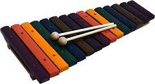 XYLOPHON Natur-Holz-15 Klänge bunt lackiert für Kinder + 2 SCHÜTTELEIER GRATIS