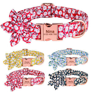 Flower Personalised Girl Dog Collar with Name ID Tag Engraved Small Medium Large