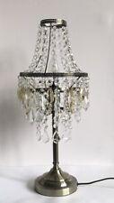 "Illuminate Lublin Antique Brass 3 Tier Cut Glass Chandelier Table Lamp 18.5"""
