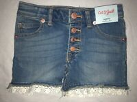 New NWT Girls Size 6/6X Cat & Jack Denim Jean Shorts Crochet Trim Adjust Waist