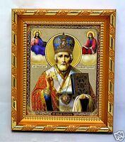 Ikone heiliger Nikolaus икона святой Николай чудотворец освящена 14,5x12x1,7 cm