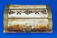 Vintage India Mother Of Pearl Abalone Inlay Wood Trinket Jewelry Box with Velv