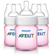 Anti Colic Baby Feeding Bottles with Newborn Flow Nipples Bpa Free 4 oz 3 Pieces