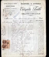 """CHATELLERAULT (86) VITRERIE & PEINTURE """"Théophile PAILLE"""" en 1927"""