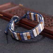 Crystal Bead Friendship Bracelet Square Tube Howlite Jasper Lapis Chakra Leather