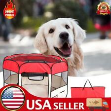 """New listing 36""""Portable Foldable 600D Oxford Cloth 8-Side Pet Fence Tent Customized Red -Usa"""