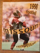 1998 MISSOURI UNIVERSITY COLLEGE FOOTBALL MEDIA GUIDE BOOK MIZZOU PROGRAM