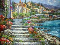 Dream-art Impressionism Oil painting Mediterranean sea landscape house flowers