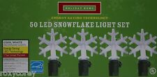 Holiday Home 50 Led Cool White Snowflakes Lights Green Wire Lighted Length 13 ft