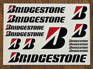BRIDGESTONE STICKER SET  SHEET OF 14 STICKERS - BUY 1 GET 1 FREE - Motorcycling