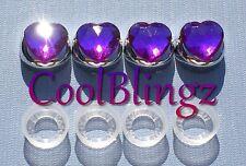 Purple Heart Rhinestone Screw Caps for Crystal Bling Sparkle License Plate Frame