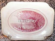 Vintage Salem China Company Red Landscape Scene Corot Platter Tray plate RARE