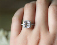 14K Solid White Gold Rings 1.70 Ct Cushion Diamond Anniversary Ring Size 5 6 7