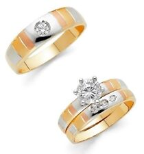14k Gold Trio 3 Tone Color Stripes Wedding Band Bridal Engagement Solitaire Ring