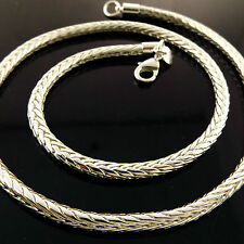 NECKLACE CHAIN GENUINE REAL 925 STERLING SILVER S/F SOLID FOX TAIL LINK DESIGN