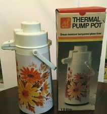 VTG Metro Thermal Pump Pot Retro Sunflower Design 1844 Hot/Cold Dispenser 10 cup