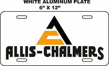 "ALLIS-CHALMERS    WHITE  ALUMINUM  LICENSE PLATE 6"" X 12"""