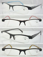 L110 Smart Semi Rimless Plastic Reading Glasses Spring Hinges+150+175+200+250