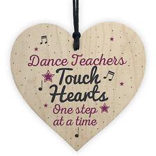Handmade Wooden Heart Thank You Dance Teacher Gift Birthday Friendship Signs