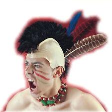 Perruque d'iroquois avec 3 plumes assorties sur crâne en latex  fetes costume