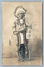 AMERICAN INDIAN CHIEF in FULL DRESS 1906 ANTIQUE REAL PHOTO POSTCARD RPPC