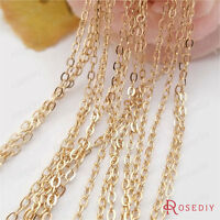 2Meter width:1.5MM or 2MM 24K Gold Plated Brass Flat Oval Chains Necklace Chains