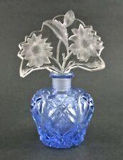 Signed CZECH antique BLUE cut PERFUME BOTTLE - Double Floral INTAGLIO Stopper