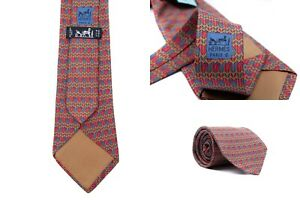 Men's HERMES Dark Red and Gold Geometric Silk Neck Tie Made in France 7354 PA