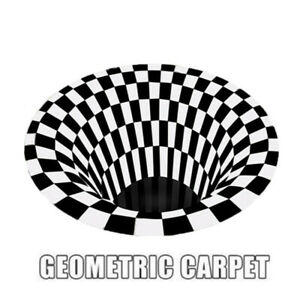 3D Rug Bottomless Hole Floor Mat Optical Illusion Carpet Non-slip Area Rugs Home
