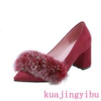 Stylish womens pointy toemid block heels pumps shoes faux leather furry slip on