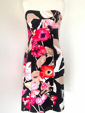MAIOCCHI FLORAL PRINT STRAPLESS DRESS Sheath Shift Cocktail Races Size 8 NWOT