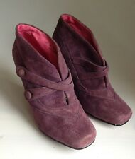 Hush Puppies Colette Purple/Plum Suede High Heeled Ankle Boots UK 4