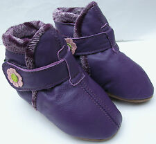 carozoo booties purple 0-6m soft sole leather baby shoes