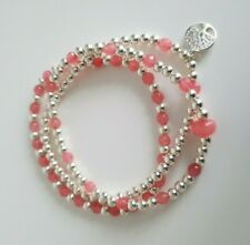 925 Sterling Silver Beaded Stretch 3 Strand Stacking Bracelet With Silver Charm