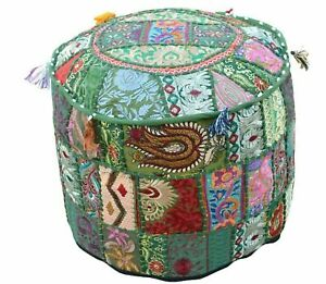 New Indian Handcrafted 100% Cotton Pouffe Embroidered Ottoman Pouffe Cover