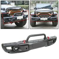 Front Bumper w LED Fog Lights For 2018-20 Jeep Wrangler JL Rubicon 3-Piece Steel