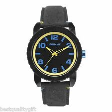 NEW-SPROUT BLACK NATURAL CORK STRAP WITH BLACK AND YELLOW DIAL WATCH ST/7011BKBK