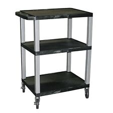 Luxor H.Wilson 3-Shelf Specialty Utility Cart with Black Shelves & Nickel Legs