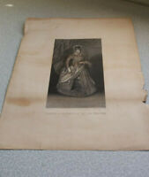ANTIQUE  19TH C EMBOSSED ENGRAVING PRINT  -PETER PAUL RUBENS - JEANNE D AUTRICHE