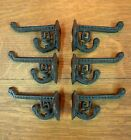 6 BROWN ANTIQUE-STYLE CAST IRON EASTLAKE-STYLE VICTORIAN COAT HOOKS hardware art