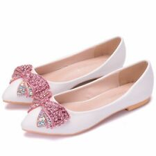 Women Rhinestone Wedding Shoes Flat Heel Pointed Toe Butterfly-knot White Shoes