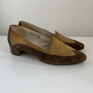 60s 70s Vintage Mod Skinhead Shoes 6 Tan Brown Block Heal Suede
